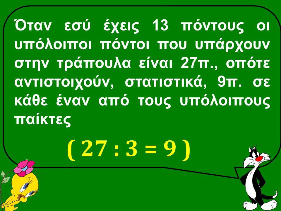 Όταν εσύ έχεις 13 πόντους οι υπόλοιποι πόντοι που υπάρχουν στην τράπουλα είναι 27π., οπότε αντιστοιχούν, στατιστικά, 9π.