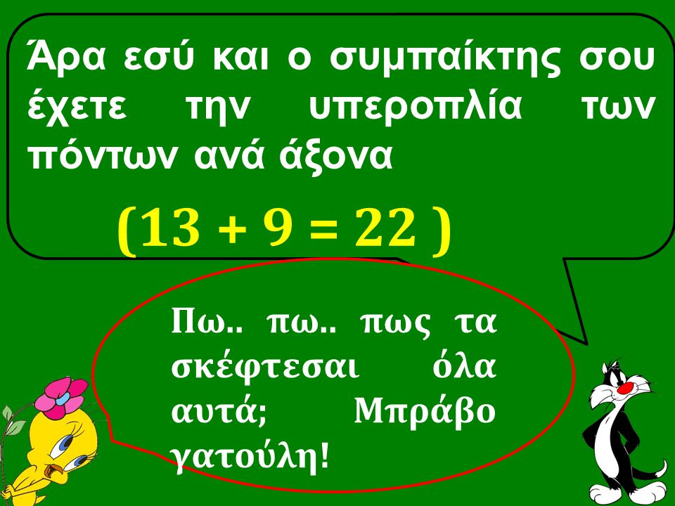 Άρα εσύ και ο συμπαίκτης σου έχετε την υπεροπλία των πόντων ανά άξονα (13 + 9 = 22 ) Πω..