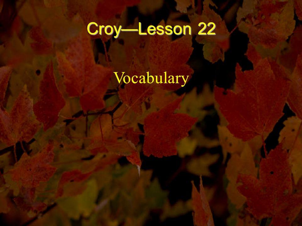 Croy—Lesson 22 Vocabulary