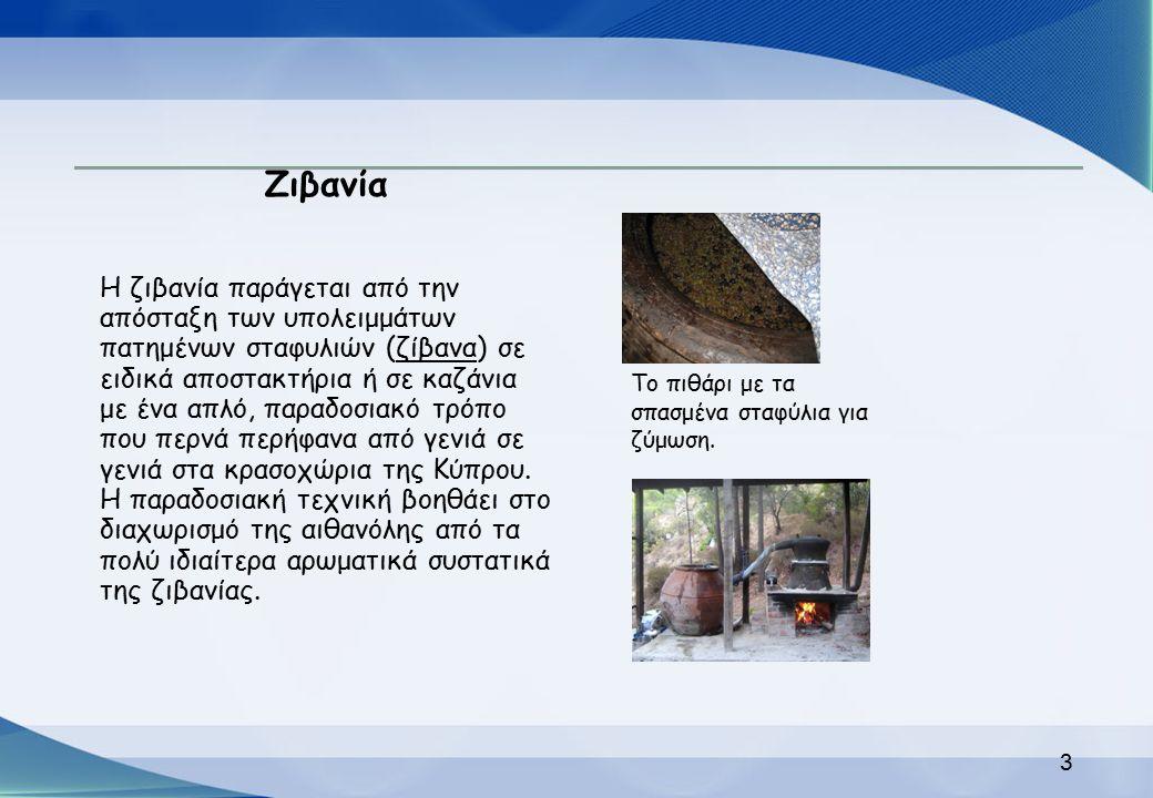 Ζιβανία Η ζιβανία παράγεται από την απόσταξη των υπολειμμάτων πατημένων σταφυλιών (ζίβανα) σε ειδικά αποστακτήρια ή σε καζάνια με ένα απλό, παραδοσιακ