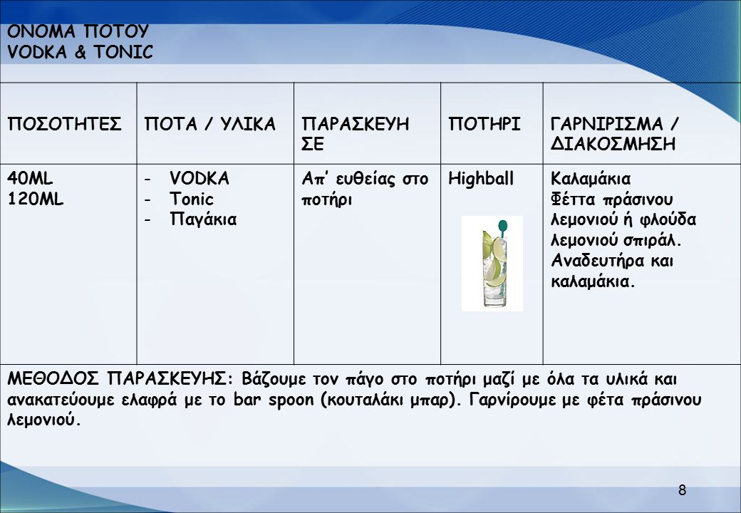ΟΝΟΜΑ ΠΟΤΟΥ VODKA & TONIC ΠΟΣΟΤΗΤΕΣΠΟΤΑ / ΥΛΙΚΑΠΑΡΑΣΚΕΥΗ ΣΕ ΠΟΤΗΡΙΓΑΡΝΙΡΙΣΜΑ / ΔΙΑΚΟΣΜΗΣΗ 40ML 120ML -VODKA -Tonic -Παγάκια Απ' ευθείας στο ποτήρι Hig