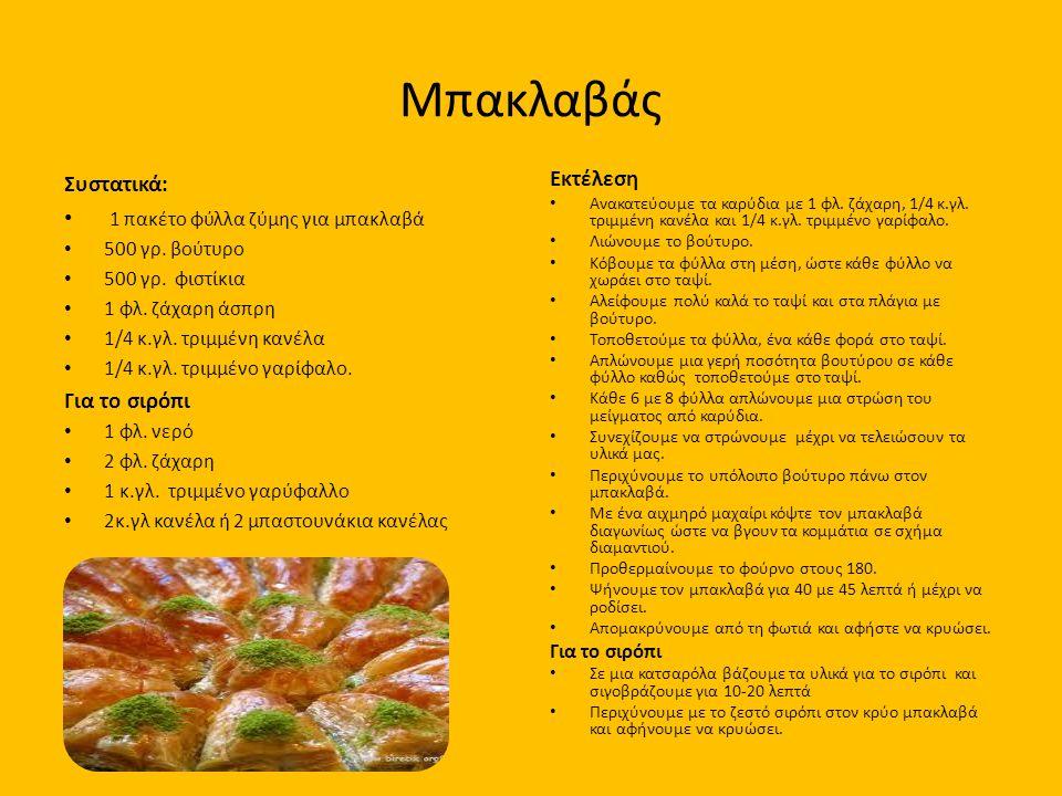 Μπακλαβάς Συστατικά: 1 πακέτο φύλλα ζύμης για μπακλαβά 500 γρ. βούτυρο 500 γρ. φιστίκια 1 φλ. ζάχαρη άσπρη 1/4 κ.γλ. τριμμένη κανέλα 1/4 κ.γλ. τριμμέν