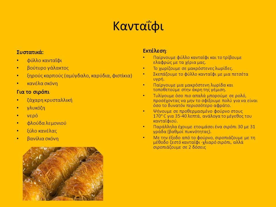 Κανταΐφι Συστατικά: φύλλο κανταΐφι βούτυρο γάλακτος ξηρούς καρπούς (αμύγδαλο, καρύδια, φιστίκια) κανέλα σκόνη Για το σιρόπι ζάχαρη κρυσταλλική γλυκόζη