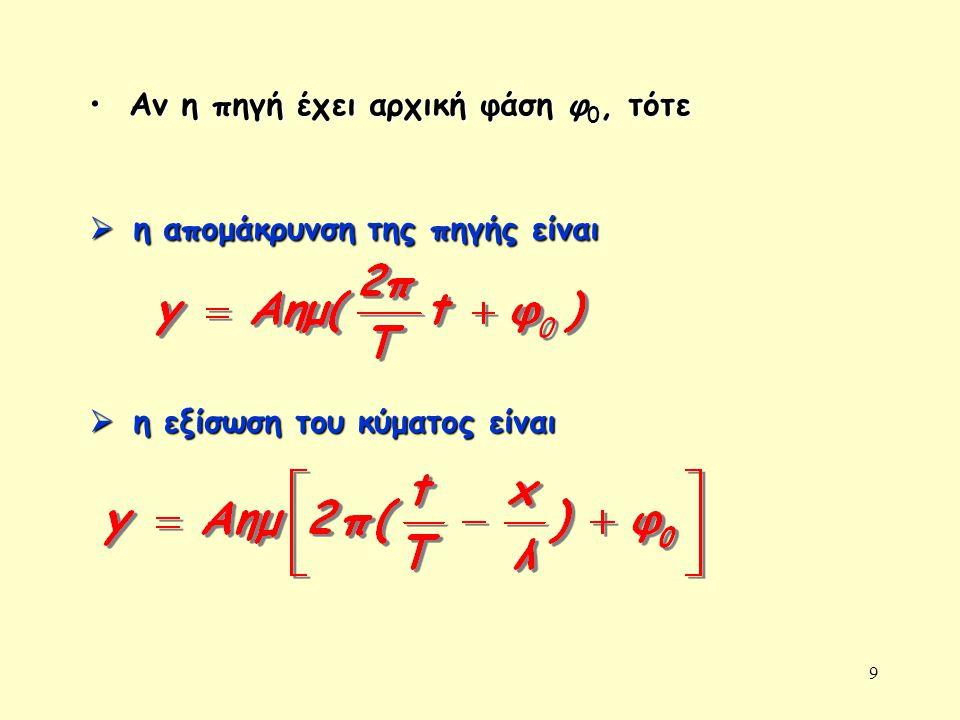 9 Αν η πηγή έχει αρχική φάση φ 0, τότε Αν η πηγή έχει αρχική φάση φ 0, τότε  η απομάκρυνση της πηγής είναι  η εξίσωση του κύματος είναι