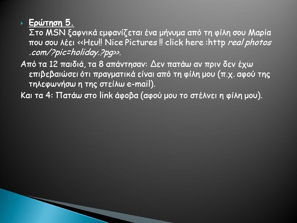  Ερώτηση 5. Στο MSN ξαφνικά εμφανίζεται ένα μήνυμα από τη φίλη σου Μαρία που σου λέει >.