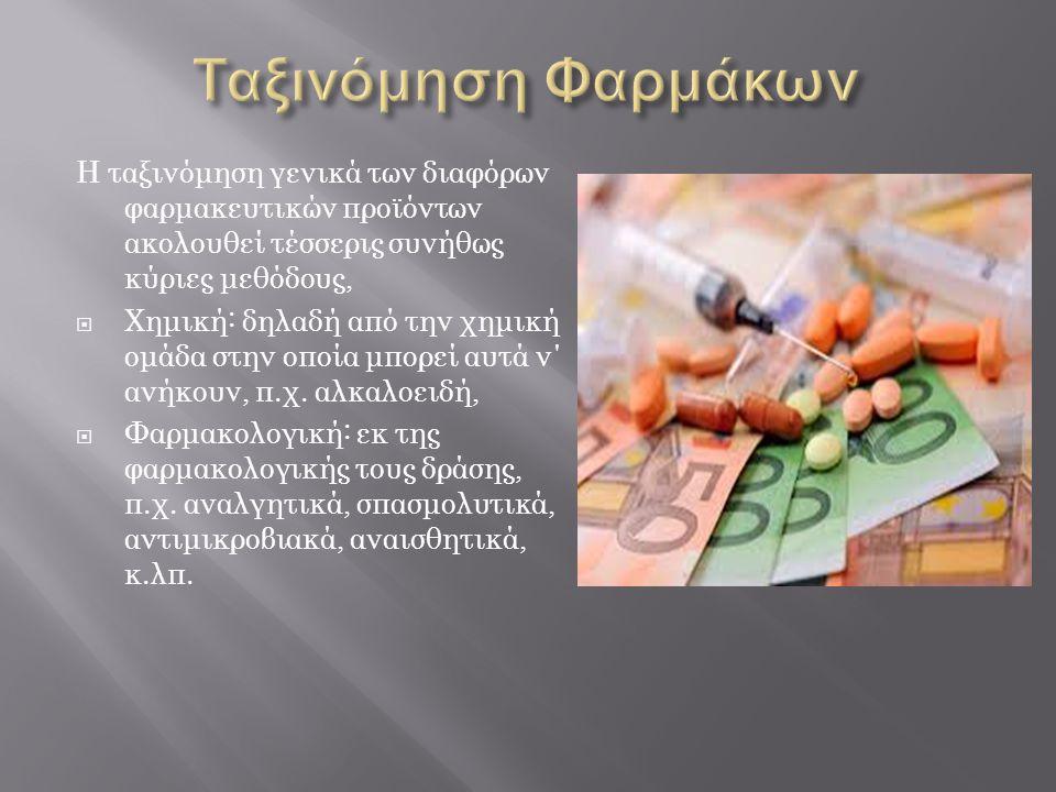 Η ταξινόμηση γενικά των διαφόρων φαρμακευτικών προϊόντων ακολουθεί τέσσερις συνήθως κύριες μεθόδους,  Χημική: δηλαδή από την χημική ομάδα στην οποία μπορεί αυτά ν΄ ανήκουν, π.χ.