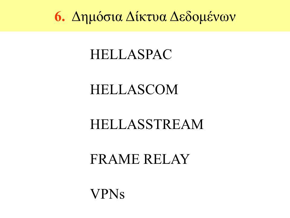 6. Δημόσια Δίκτυα Δεδομένων ΗELLASPAC HELLASCOM HELLASSTREAM FRAME RELAY VPNs