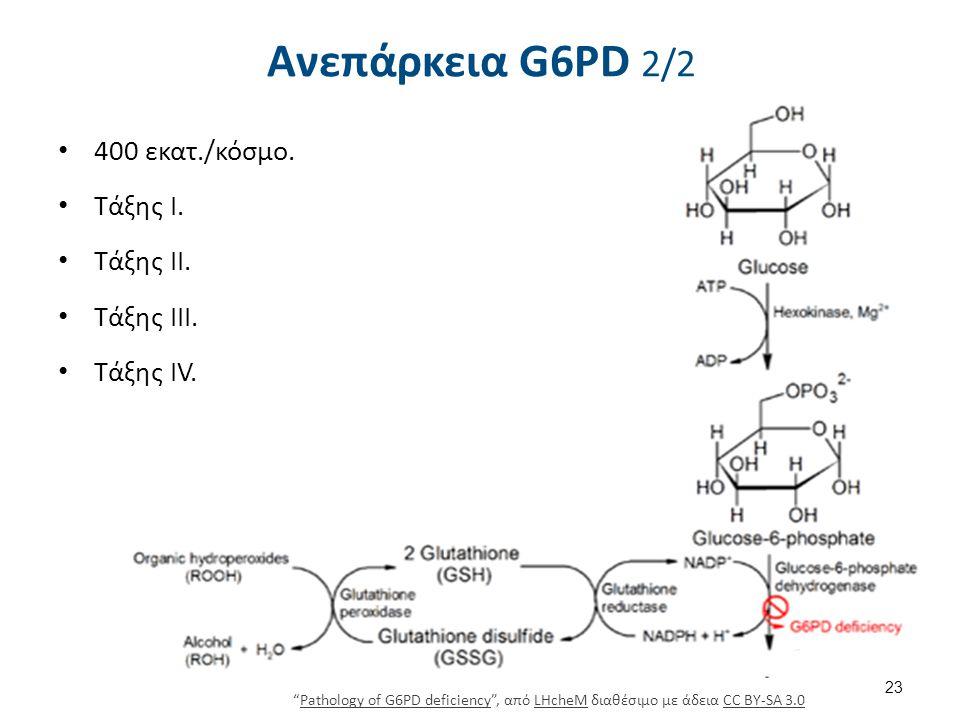 """Ανεπάρκεια G6PD 2/2 400 εκατ./κόσμο. Τάξης Ι. Τάξης ΙΙ. Τάξης ΙΙΙ. Τάξης IV. 23 """"Pathology of G6PD deficiency"""", από LHcheM διαθέσιμο με άδεια CC BY-SA"""