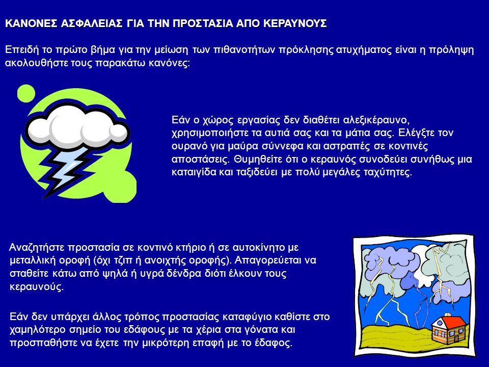 ΚΑΝΟΝΕΣ ΑΣΦΑΛΕΙΑΣ ΓΙΑ ΤΗΝ ΠΡΟΣΤΑΣΙΑ ΑΠΟ ΚΕΡΑΥΝΟΥΣ Επειδή το πρώτο βήμα για την μείωση των πιθανοτήτων πρόκλησης ατυχήματος είναι η πρόληψη ακολουθήστε τους παρακάτω κανόνες: Εάν ο χώρος εργασίας δεν διαθέτει αλεξικέραυνο, χρησιμοποιήστε τα αυτιά σας και τα μάτια σας.