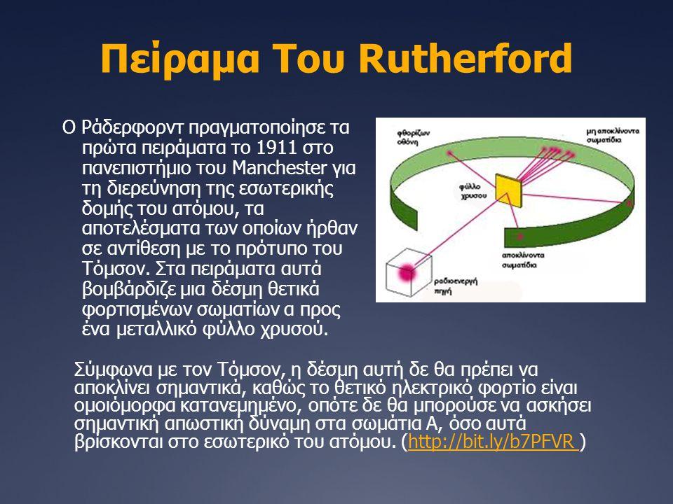 Πείραμα Του Rutherford Ο Ράδερφορντ πραγματοποίησε τα πρώτα πειράματα το 1911 στο πανεπιστήμιο του Manchester για τη διερεύνηση της εσωτερικής δομής τ