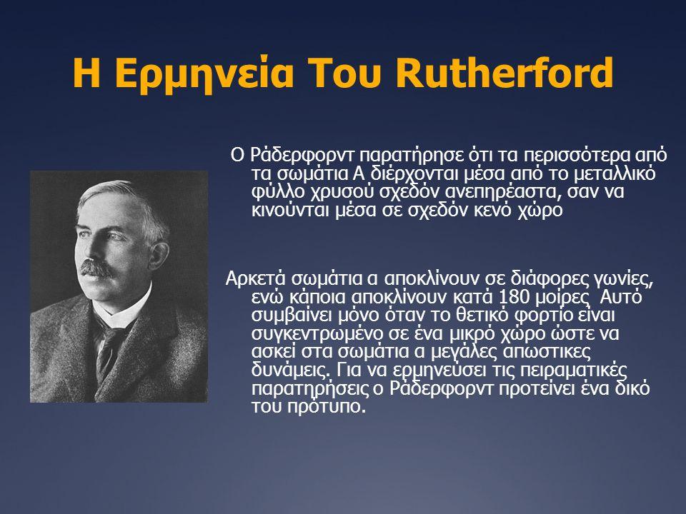 Η Ερμηνεία Του Rutherford Ο Ράδερφορντ παρατήρησε ότι τα περισσότερα από τα σωμάτια Α διέρχονται μέσα από το μεταλλικό φύλλο χρυσού σχεδόν ανεπηρέαστα