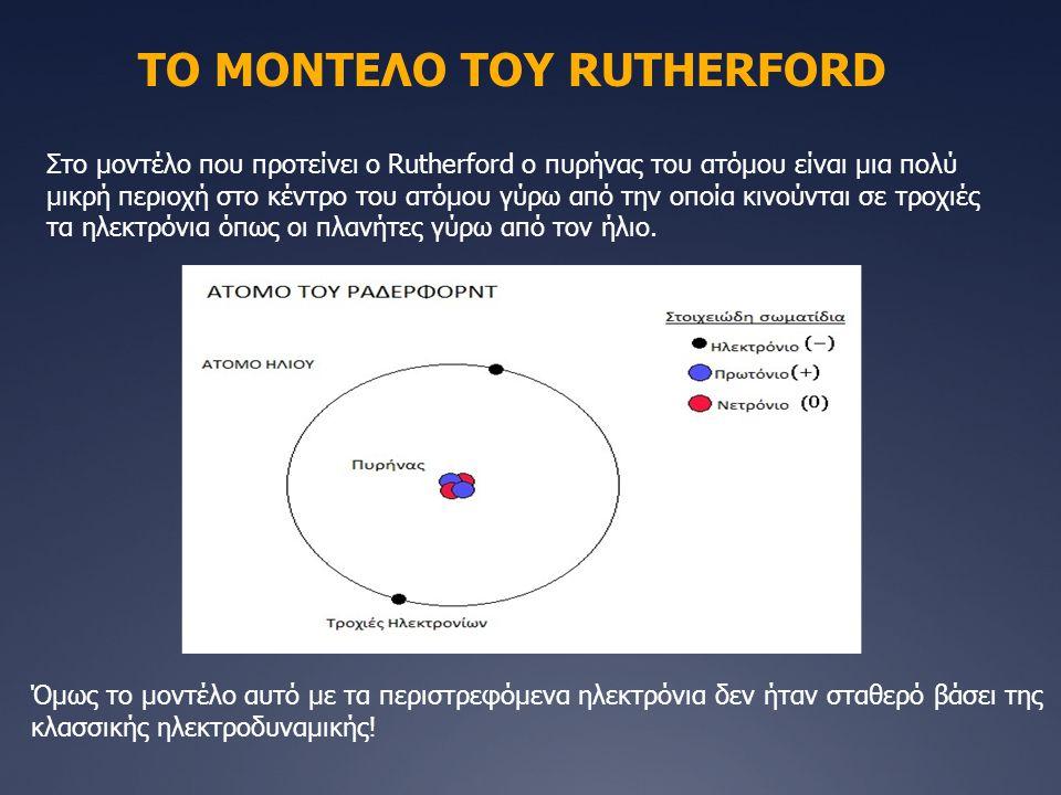 ΤΟ ΜΟΝΤΕΛΟ ΤΟΥ RUTHERFORD Στο μοντέλο που προτείνει ο Rutherford ο πυρήνας του ατόμου είναι μια πολύ μικρή περιοχή στο κέντρο του ατόμου γύρω από την