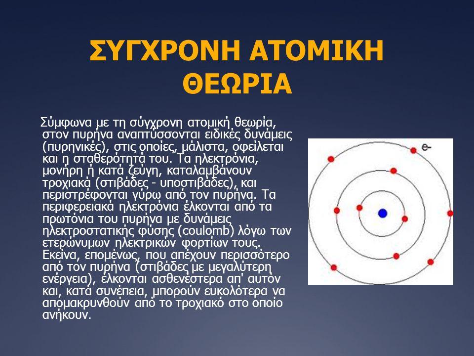 ΣΥΓΧΡΟΝΗ ΑΤΟΜΙΚΗ ΘΕΩΡΙΑ Σύμφωνα με τη σύγχρονη ατομική θεωρία, στον πυρήνα αναπτύσσονται ειδικές δυνάμεις (πυρηνικές), στις οποίες, μάλιστα, οφείλεται