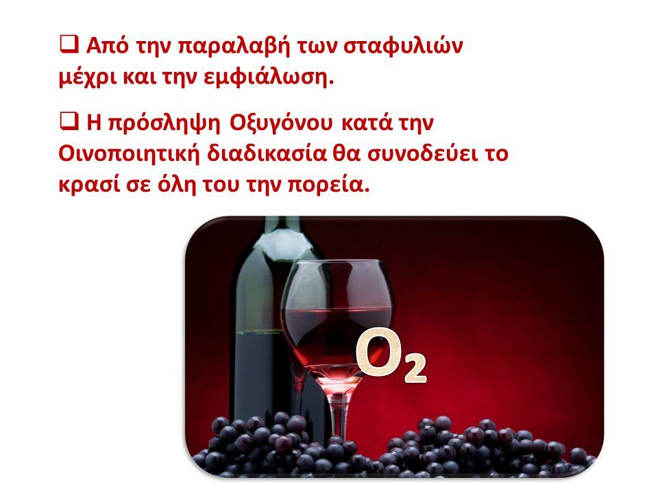  Η πρόσληψη Οξυγόνου κατά την Οινοποιητική διαδικασία θα συνοδεύει το κρασί σε όλη του την πορεία.  Από την παραλαβή των σταφυλιών μέχρι και την εμφ