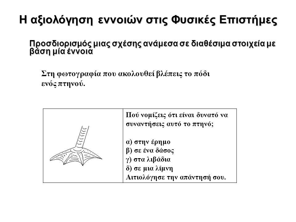 Η αξιολόγηση εννοιών στις Φυσικές Επιστήμες Προσδιορισμός μιας σχέσης ανάμεσα σε διαθέσιμα στοιχεία με βάση μία έννοια Στη φωτογραφία που ακολουθεί βλέπεις το πόδι ενός πτηνού.
