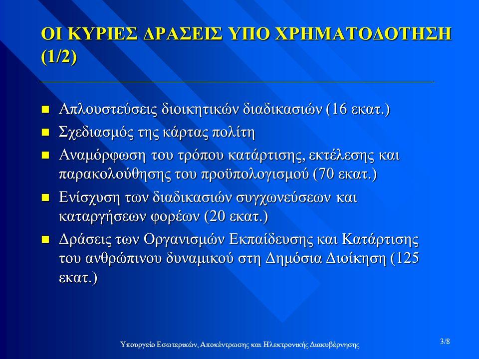 ΟΙ ΚΥΡΙΕΣ ΔΡΑΣΕΙΣ ΥΠΟ ΧΡΗΜΑΤΟΔΟΤΗΣΗ (1/2) n Απλουστεύσεις διοικητικών διαδικασιών (16 εκατ.) n Σχεδιασμός της κάρτας πολίτη n Αναμόρφωση του τρόπου κατάρτισης, εκτέλεσης και παρακολούθησης του προϋπολογισμού (70 εκατ.) n Ενίσχυση των διαδικασιών συγχωνεύσεων και καταργήσεων φορέων (20 εκατ.) n Δράσεις των Οργανισμών Εκπαίδευσης και Κατάρτισης του ανθρώπινου δυναμικού στη Δημόσια Διοίκηση (125 εκατ.) Υπουργείο Εσωτερικών, Αποκέντρωσης και Ηλεκτρονικής Διακυβέρνησης 3/8