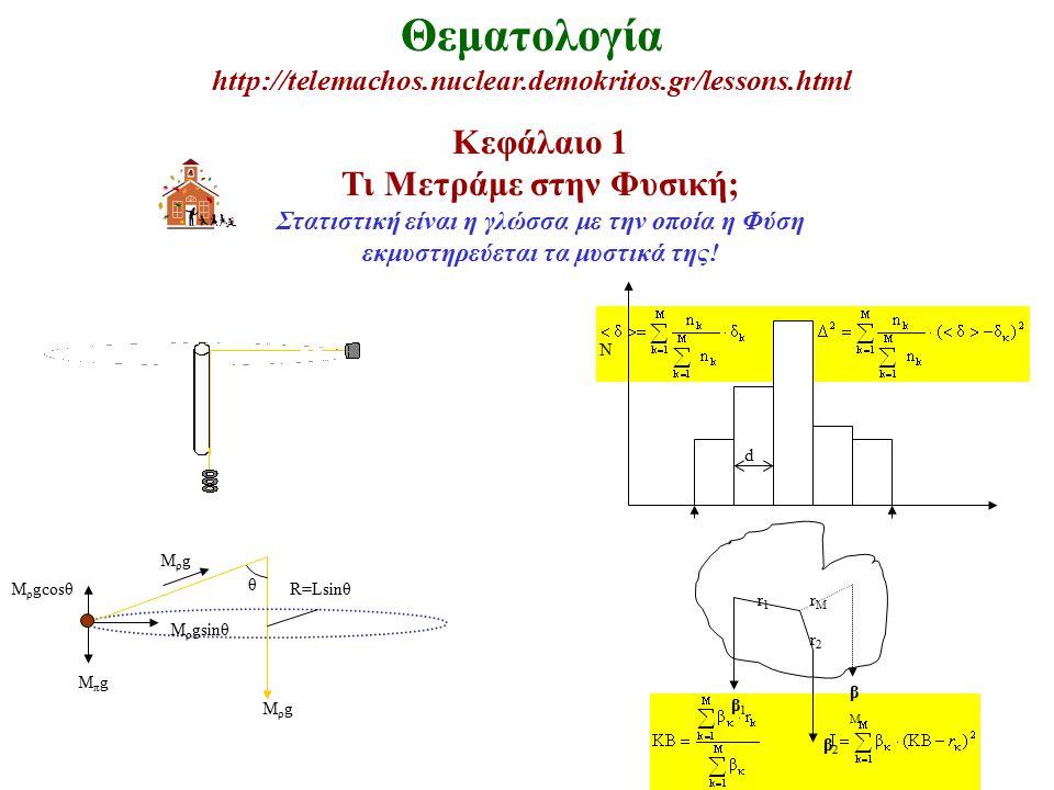 Θεματολογία http://telemachos.nuclear.demokritos.gr/lessons.html Κεφάλαιο 1 Τι Μετράμε στην Φυσική; Στατιστική είναι η γλώσσα με την οποία η Φύση εκμυστηρεύεται τα μυστικά της.