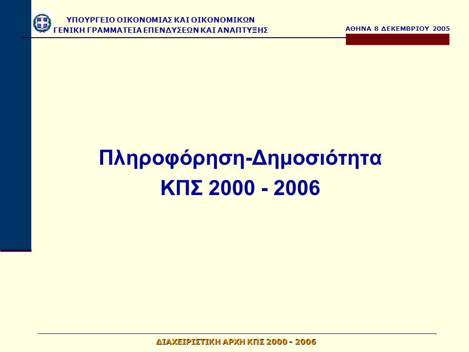 ΑΘΗΝΑ 8 ΔΕΚΕΜΒΡΙΟΥ 2005 ΥΠΟΥΡΓΕΙΟ ΟΙΚΟΝΟΜΙΑΣ ΚΑΙ ΟΙΚΟΝΟΜΙΚΩΝ ΓΕΝΙΚΗ ΓΡΑΜΜΑΤΕΙΑ ΕΠΕΝΔΥΣΕΩΝ ΚΑΙ ΑΝΑΠΤΥΞΗΣ ΔΙΑΧΕΙΡΙΣΤΙΚΗ ΑΡΧΗ ΚΠΣ 2000 - 2006 Συντονισμός – Παρακολούθηση ενεργειών Π&Δ  Παρακολούθηση και συντονισμός του έργου Π&Δ των ΕΠ με παροχή κατευθύνσεων και υπόδειξη διορθώσεων όπου χρειάζεται  Ανασύσταση Επιτροπής Συντονισμού και Παρακολούθησης του έργου της Δημοσιότητας  Αποστολή στις ΔΑ των ΕΠ ενδεικτικού τεύχους προκήρυξης προκειμένου να αντιμετωπισθούν σημαντικά προβλήματα που παρουσιάσθηκαν στην μέχρι τώρα υλοποίηση του έργου και στην σύνταξη των προκηρύξεων για τους αναδόχους δημοσιότητας