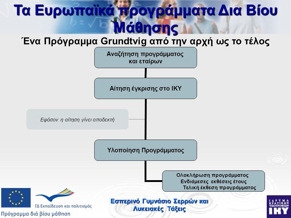 Εσπερινό Γυμνάσιο Σερρών και Λυκειακές Τάξεις Αναζήτηση προγράμματος και εταίρων Αίτηση έγκρισης στο ΙΚΥ Υλοποίηση Προγράμματος Ολοκλήρωση προγράμματος Ενδιάμεσες εκθέσεις έτους Τελική έκθεση προγράμματος Εφόσον η αίτηση γίνει αποδεκτή Τα Ευρωπαϊκά προγράμματα Δια Βίου Μάθησης Ένα Πρόγραμμα Grundtvig από την αρχή ως το τέλος