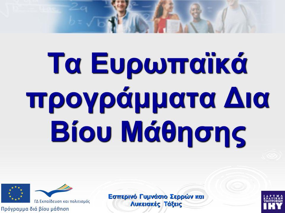 Εσπερινό Γυμνάσιο Σερρών και Λυκειακές Τάξεις Τα Ευρωπαϊκά προγράμματα Δια Βίου Μάθησης