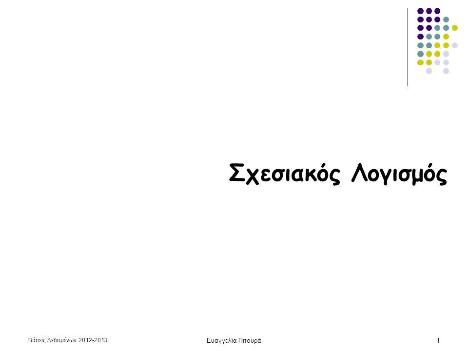 Βάσεις Δεδομένων 2012-2013 Ευαγγελία Πιτουρά12 Παράδειγμα Παράδειγμα (επιλογή, προβολή): Τα ονόματα ηθοποιών που γεννήθηκαν μετά το 1980 {t.Όνομα | Ηθοποιός(t) and t.Ετος-Γέννησης > 1980} Ταινία (Τίτλος, Έτος, Διάρκεια, Είδος) Παίζει(Όνομα, Τίτλος, Έτος) Ηθοποιός(Όνομα, Διεύθυνση, Έτος-Γέννησης, Σύζυγος-Ηθοποιού)