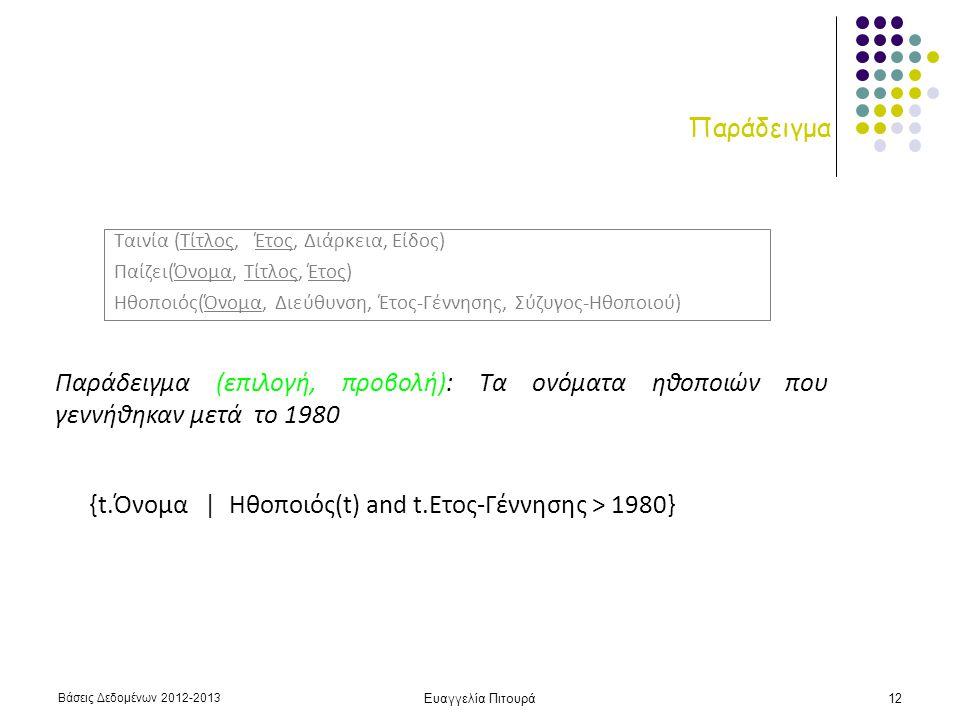 Βάσεις Δεδομένων 2012-2013 Ευαγγελία Πιτουρά12 Παράδειγμα Παράδειγμα (επιλογή, προβολή): Τα ονόματα ηθοποιών που γεννήθηκαν μετά το 1980 {t.Όνομα | Ηθ