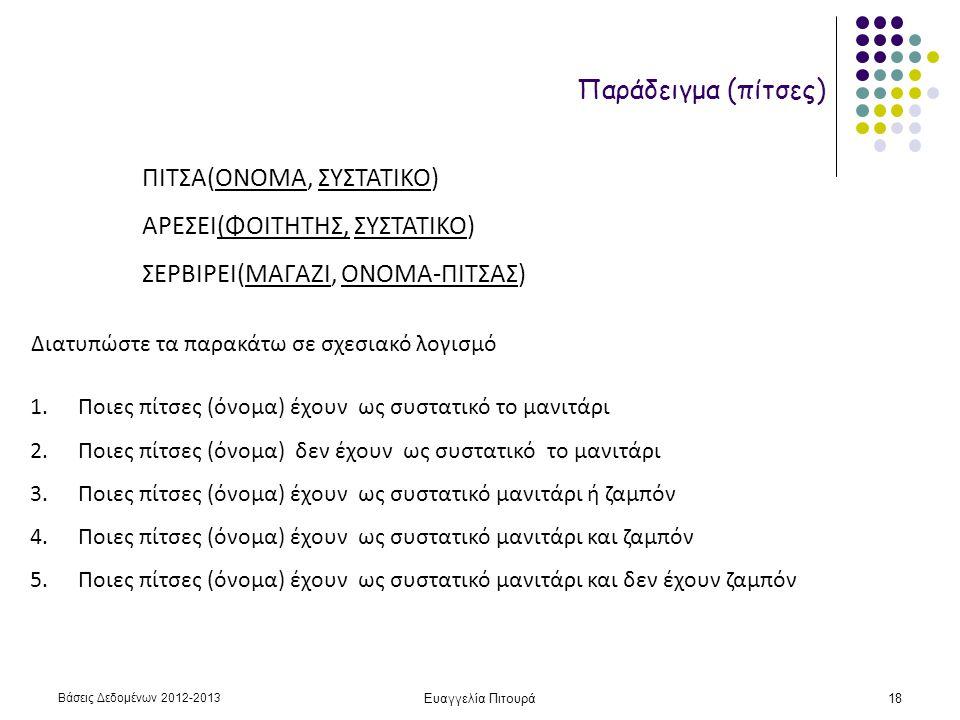 Βάσεις Δεδομένων 2012-2013 Ευαγγελία Πιτουρά18 Παράδειγμα (πίτσες) ΠΙΤΣΑ(ΟΝΟΜΑ, ΣΥΣΤΑΤΙΚΟ) ΑΡΕΣΕΙ(ΦΟΙΤΗΤΗΣ, ΣΥΣΤΑΤΙΚΟ) ΣΕΡΒΙΡΕΙ(ΜΑΓΑΖΙ, ΟΝΟΜΑ-ΠΙΤΣΑΣ) 1.Ποιες πίτσες (όνομα) έχουν ως συστατικό το μανιτάρι 2.Ποιες πίτσες (όνομα) δεν έχουν ως συστατικό το μανιτάρι 3.Ποιες πίτσες (όνομα) έχουν ως συστατικό μανιτάρι ή ζαμπόν 4.Ποιες πίτσες (όνομα) έχουν ως συστατικό μανιτάρι και ζαμπόν 5.Ποιες πίτσες (όνομα) έχουν ως συστατικό μανιτάρι και δεν έχουν ζαμπόν Διατυπώστε τα παρακάτω σε σχεσιακό λογισμό