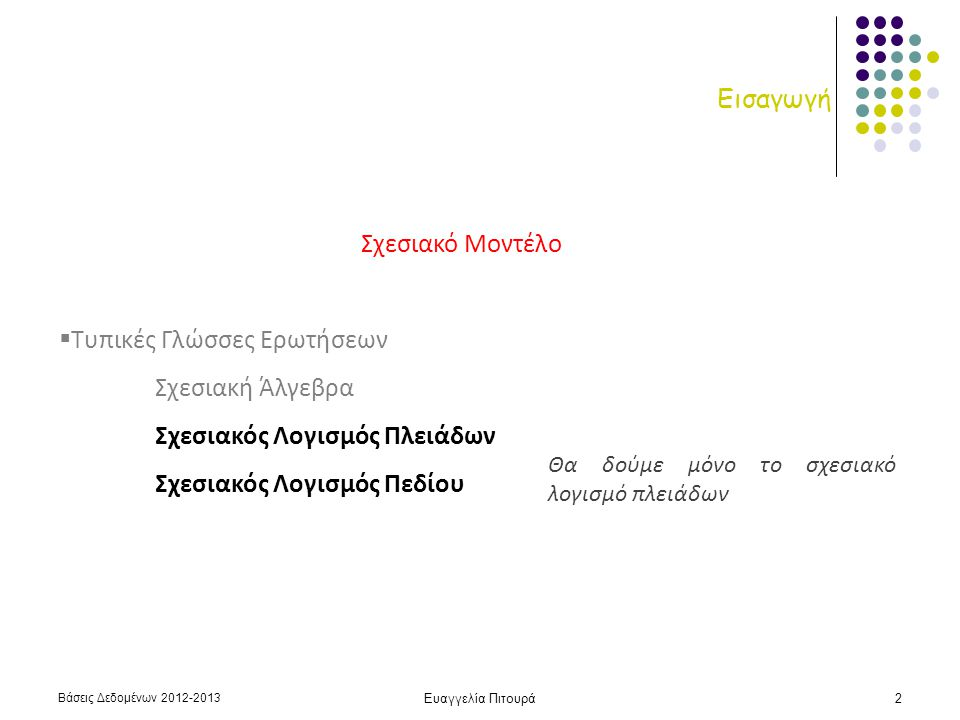 Βάσεις Δεδομένων 2012-2013 Ευαγγελία Πιτουρά2 Εισαγωγή Σχεσιακό Μοντέλο  Τυπικές Γλώσσες Ερωτήσεων Σχεσιακή Άλγεβρα Σχεσιακός Λογισμός Πλειάδων Σχεσι