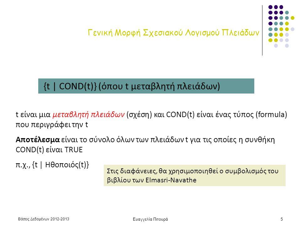 Βάσεις Δεδομένων 2012-2013 Ευαγγελία Πιτουρά5 Γενική Μορφή Σχεσιακού Λογισμού Πλειάδων {t | COND(t)} (όπου t μεταβλητή πλειάδων) t είναι μια μεταβλητή πλειάδων (σχέση) και COND(t) είναι ένας τύπος (formula) που περιγράφει την t Αποτέλεσμα είναι το σύνολο όλων των πλειάδων t για τις οποίες η συνθήκη COND(t) είναι TRUE π.χ., {t | Ηθοποιός(t)} Στις διαφάνειες, θα χρησιμοποιηθεί ο συμβολισμός του βιβλίου των Elmasri-Navathe