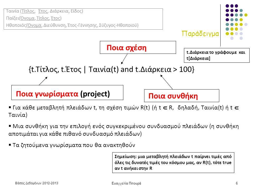Βάσεις Δεδομένων 2012-2013 Ευαγγελία Πιτουρά6 Παράδειγμα {t.Τίτλος, t.Έτος | Ταινία(t) and t.Διάρκεια > 100} Ποια γνωρίσματα (project) Ποια σχέση Ποια συνθήκη  Για κάθε μεταβλητή πλειάδων t, τη σχέση τιμών R(t) (ή t  R, δηλαδή, Ταινία(t) ή t  Ταινία)  Μια συνθήκη για την επιλογή ενός συγκεκριμένου συνδυασμού πλειάδων (η συνθήκη αποτιμάται για κάθε πιθανό συνδυασμό πλειάδων)  Τα ζητούμενα γνωρίσματα που θα ανακτηθούν Σημείωση: μια μεταβλητή πλειάδων t παίρνει τιμές από όλες τις δυνατές τιμές του κόσμου μας, αν R(t), τότε true αν t ανήκει στην R Ταινία (Τίτλος, Έτος, Διάρκεια, Είδος) Παίζει(Όνομα, Τίτλος, Έτος) Ηθοποιός(Όνομα, Διεύθυνση, Έτος-Γέννησης, Σύζυγος-Ηθοποιού) t.Διάρκεια το γράφουμε και t[Διάρκεια]