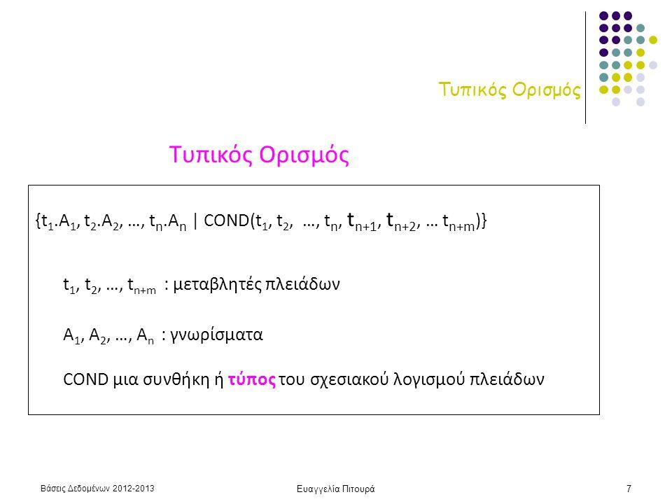 Βάσεις Δεδομένων 2012-2013 Ευαγγελία Πιτουρά7 Τυπικός Ορισμός {t 1.A 1, t 2.A 2, …, t n.A n | COND(t 1, t 2, …, t n, t n+1, t n+2, … t n+m )} t 1, t 2, …, t n+m : μεταβλητές πλειάδων Α 1, Α 2, …, Α n : γνωρίσματα COND μια συνθήκη ή τύπος του σχεσιακού λογισμού πλειάδων