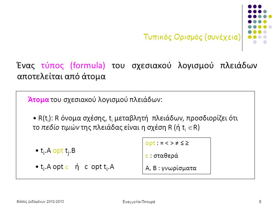 Βάσεις Δεδομένων 2012-2013 Ευαγγελία Πιτουρά8 Τυπικός Ορισμός (συνέχεια) Ένας τύπος (formula) του σχεσιακού λογισμού πλειάδων αποτελείται από άτομα Άτομα του σχεσιακού λογισμού πλειάδων: R(t i ): R όνομα σχέσης, t i μεταβλητή πλειάδων, προσδιορίζει ότι το πεδίο τιμών της πλειάδας είναι η σχέση R (ή t i  R) t i.A opt t j.B t i.A opt c ή c opt t i.A opt : = ≠ ≤ ≥ c : σταθερά A, B : γνωρίσματα