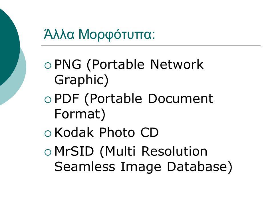 Άλλα Μορφότυπα:  PNG (Portable Network Graphic)  PDF (Portable Document Format)  Kodak Photo CD  MrSID (Multi Resolution Seamless Image Database)