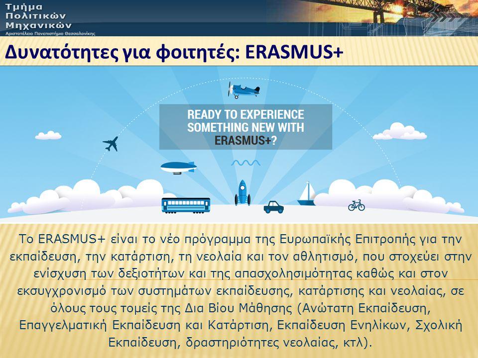 Δυνατότητες για φοιτητές: ERASMUS+ Το ERASMUS+ είναι το νέο πρόγραμμα της Ευρωπαϊκής Επιτροπής για την εκπαίδευση, την κατάρτιση, τη νεολαία και τον α