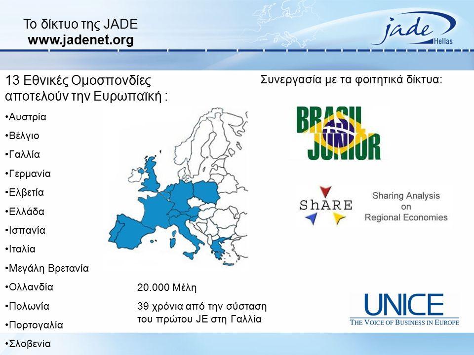 Το δίκτυο της JADE www.jadenet.org 13 Εθνικές Ομοσπονδίες αποτελούν την Ευρωπαϊκή : Αυστρία Βέλγιο Γαλλία Γερμανία Ελβετία Ελλάδα Ισπανία Ιταλία Μεγάλ