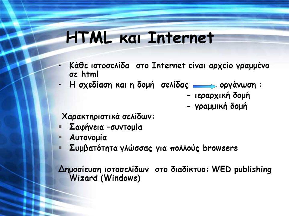 HTML και Internet Κάθε ιστοσελίδα στο Internet είναι αρχείο γραμμένο σε html Η σχεδίαση και η δομή σελίδας οργάνωση : - ιεραρχική δομή - γραμμική δομή