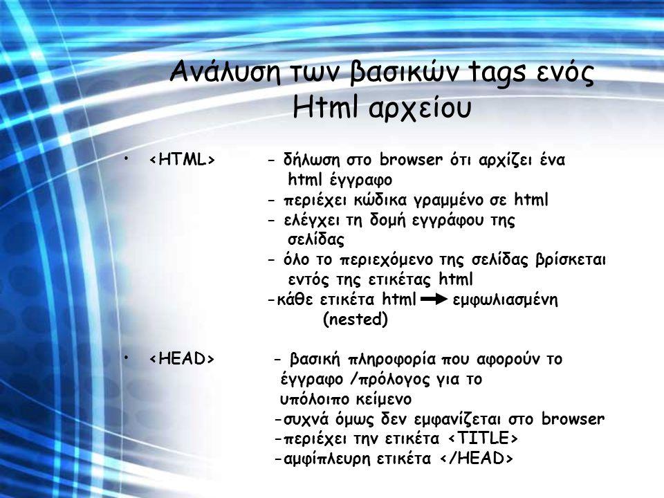 Ανάλυση των βασικών tags ενός Html αρχείου - δήλωση στο browser ότι αρχίζει ένα html έγγραφο - περιέχει κώδικα γραμμένο σε html - ελέγχει τη δομή εγγρ