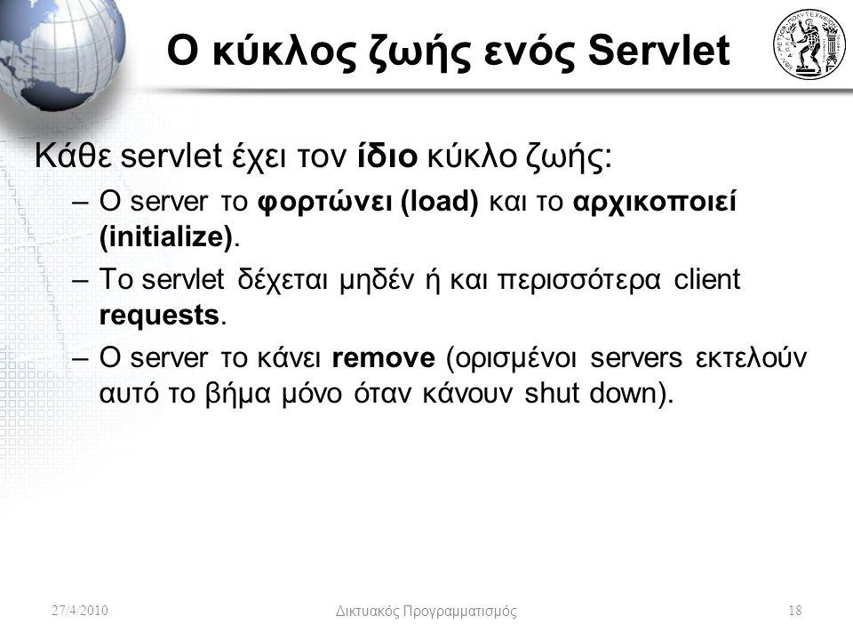 Ο κύκλος ζωής ενός Servlet Κάθε servlet έχει τον ίδιο κύκλο ζωής: –Ο server το φορτώνει (load) και το αρχικοποιεί (initialize). –Το servlet δέχεται μη