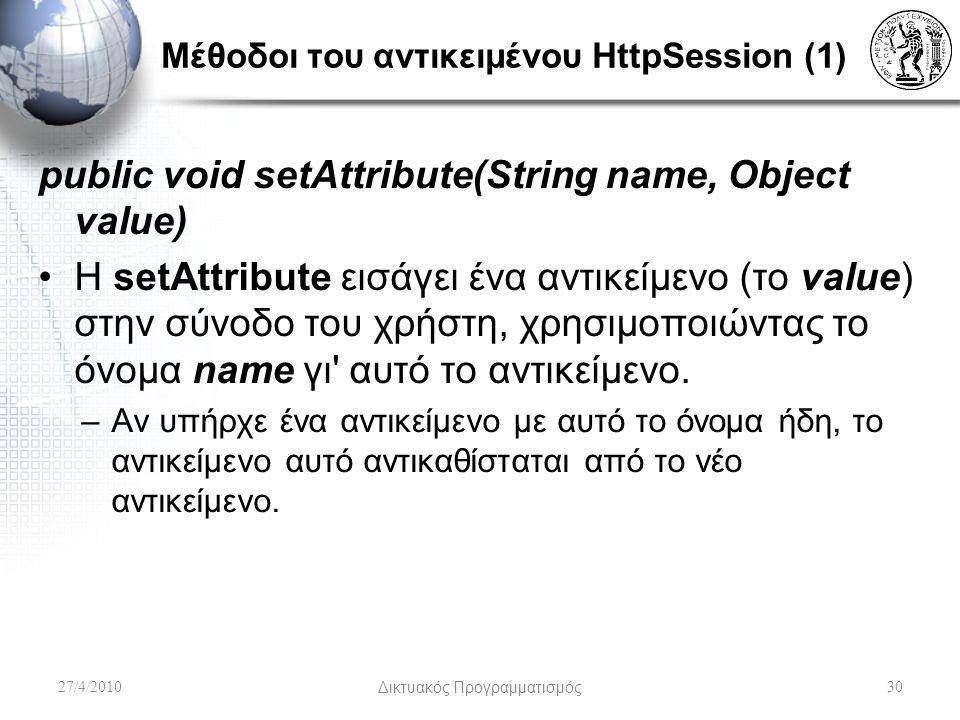 Μέθοδοι του αντικειμένου HttpSession (1) public void setAttribute(String name, Object value) Η setAttribute εισάγει ένα αντικείμενο (το value) στην σύνοδο του χρήστη, χρησιμοποιώντας το όνομα name γι αυτό το αντικείμενο.