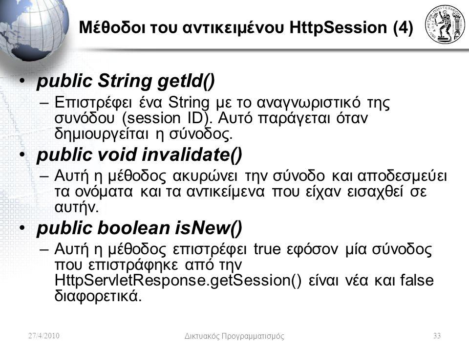 Μέθοδοι του αντικειμένου HttpSession (4) public String getId() –Επιστρέφει ένα String με το αναγνωριστικό της συνόδου (session ID). Αυτό παράγεται ότα