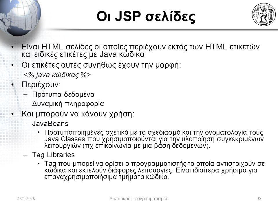 Οι JSP σελίδες Είναι HTML σελίδες οι οποίες περιέχουν εκτός των HTML ετικετών και ειδικές ετικέτες με Java κώδικα Οι ετικέτες αυτές συνήθως έχουν την μορφή: Περιέχουν: –Πρότυπα δεδομένα –Δυναμική πληροφορία Και μπορούν να κάνουν χρήση: –JavaBeans Προτυποποιημένες σχετικά με το σχεδιασμό και την ονοματολογία τους Java Classes που χρησιμοποιούνται για την υλοποίηση συγκεκριμένων λειτουργιών (πχ επικοινωνία με μια βάση δεδομένων).