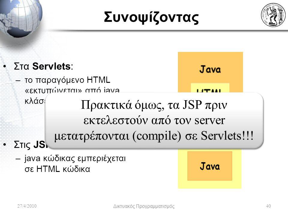 Συνοψίζοντας 27/4/2010Δικτυακός Προγραμματισμός40 Στα Servlets: –το παραγόμενο HTML «εκτυπώνεται» από java κλάσεις Στις JSP: –java κώδικας εμπεριέχεται σε HTML κώδικα Πρακτικά όμως, τα JSP πριν εκτελεστούν από τον server μετατρέπονται (compile) σε Servlets!!!