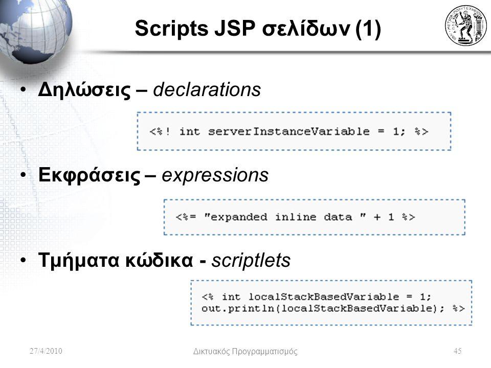 Scripts JSP σελίδων (1) Δηλώσεις – declarations Εκφράσεις – expressions Τμήματα κώδικα - scriptlets 27/4/2010Δικτυακός Προγραμματισμός45