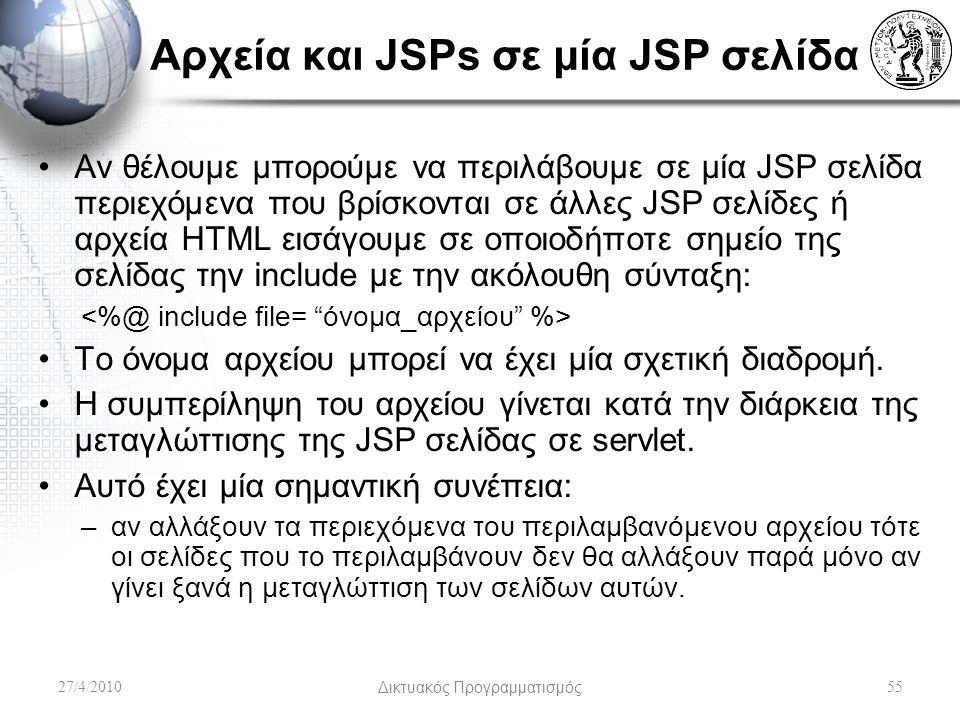 Αρχεία και JSPs σε μία JSP σελίδα Αν θέλουμε μπορούμε να περιλάβουμε σε μία JSP σελίδα περιεχόμενα που βρίσκονται σε άλλες JSP σελίδες ή αρχεία HTML εισάγουμε σε οποιοδήποτε σημείο της σελίδας την include με την ακόλουθη σύνταξη: Το όνομα αρχείου μπορεί να έχει μία σχετική διαδρομή.