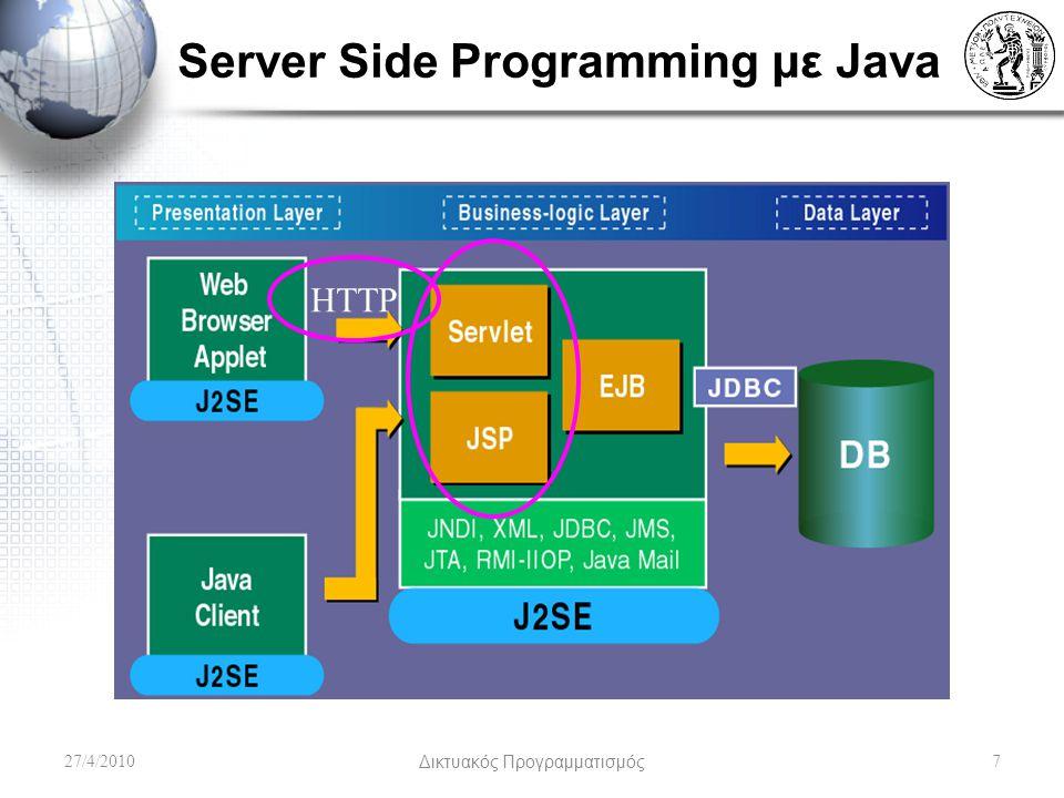 JavaBeans & JSP Αρχικά δηλώνουμε την κλάση που αντιστοιχεί στο bean και του δίνουμε ένα όνομα (id) για να μπορούμε να το καλούμε μέσα στην σελίδα – –To scope έχει τα ίδια χαρακτηριστικά όπως προηγούμενα στα JSP.