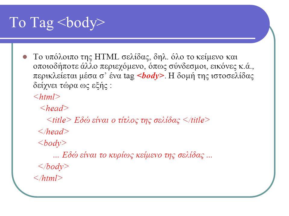 Το Tag Το υπόλοιπο της HTML σελίδας, δηλ. όλο το κείμενο και οποιοδήποτε άλλο περιεχόμενο, όπως σύνδεσμοι, εικόνες κ.ά., περικλείεται μέσα σ' ένα tag.