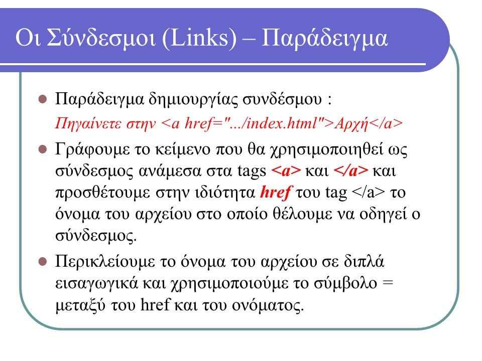 Οι Σύνδεσμοι (Links) – Παράδειγμα Παράδειγμα δημιουργίας συνδέσμου : Πηγαίνετε στην Αρχή Γράφουμε το κείμενο που θα χρησιμοποιηθεί ως σύνδεσμος ανάμεσ