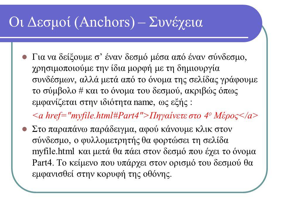 Οι Δεσμοί (Anchors) – Συνέχεια Για να δείξουμε σ' έναν δεσμό μέσα από έναν σύνδεσμο, χρησιμοποιούμε την ίδια μορφή με τη δημιουργία συνδέσμων, αλλά με