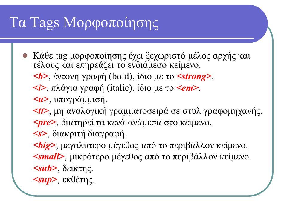 Τα Tags Μορφοποίησης Κάθε tag μορφοποίησης έχει ξεχωριστό μέλος αρχής και τέλους και επηρεάζει το ενδιάμεσο κείμενο., έντονη γραφή (bold), ίδιο με το.