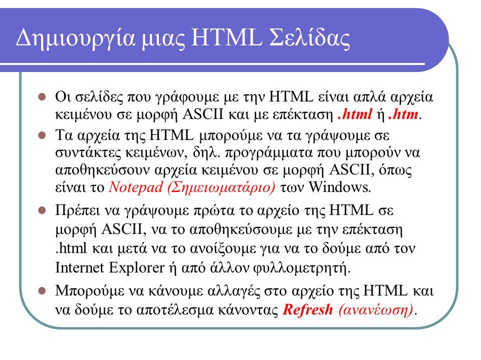 Δημιουργία μιας HTML Σελίδας Οι σελίδες που γράφουμε με την HTML είναι απλά αρχεία κειμένου σε μορφή ASCII και με επέκταση.html ή.htm. Τα αρχεία της H